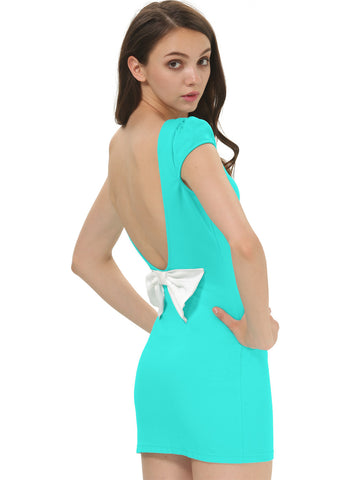 Green Backless Bow Back Bodycon Dress
