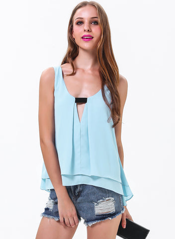 Blue Sleeveless Dipped Hem Hollow Vest