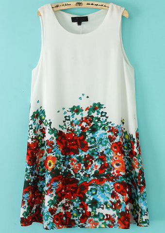 White Sleeveless Floral Loose Flare Dress