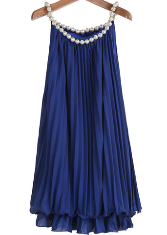 Blue Bead Pleated Chiffon A Line Dress