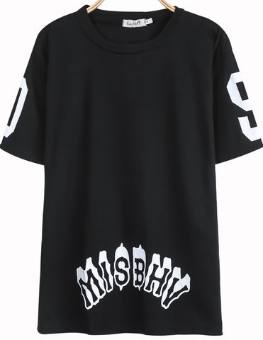 Black Short Sleeve MISBHV XC Print Loose T-Shirt