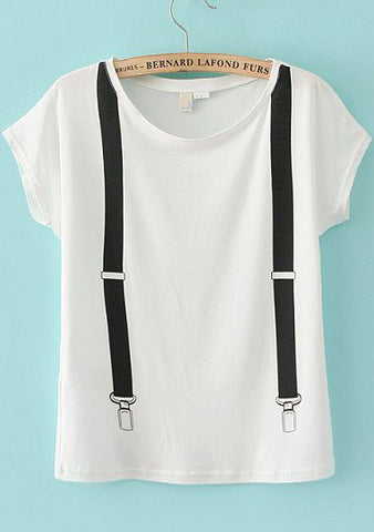 White Short Sleeve Strap Loose T-Shirt