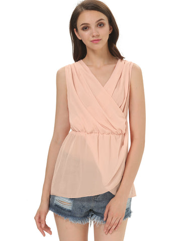 Pink Deep V Neck Sleeveless Chiffon Blouse