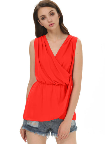 Red Deep V Neck Sleeveless Chiffon Blouse