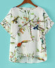 White Cut Out Back Bird with Tree Print Blouse