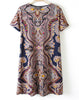 Navy Short Sleeve Paisley Print Swing Dress