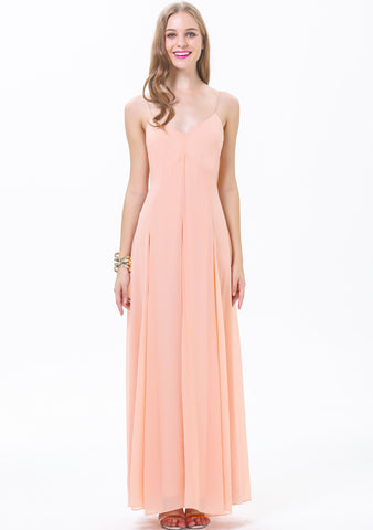 Pink Spaghetti Strap Backless Maxi Dress