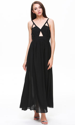 Black Spaghetti Strap Hollow Maxi Dress