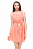 Coral Sleeveless Buttons Self-tie Cut Out Dress