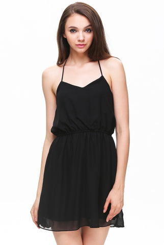 Black Halter Backless Pleated Shift Dress