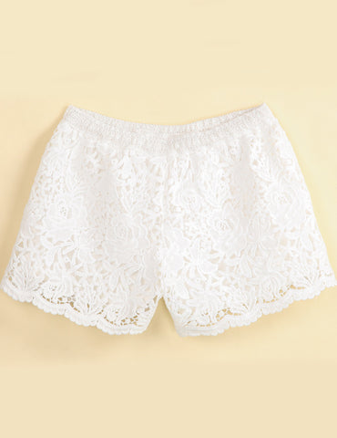 White Floral Crochet Lace Shorts