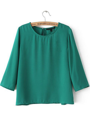 Green Round Neck Half Sleeve Loose Blouse