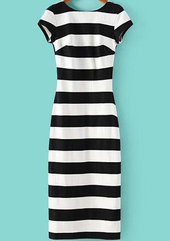 Black White Striped Short Sleeve Backless Dress