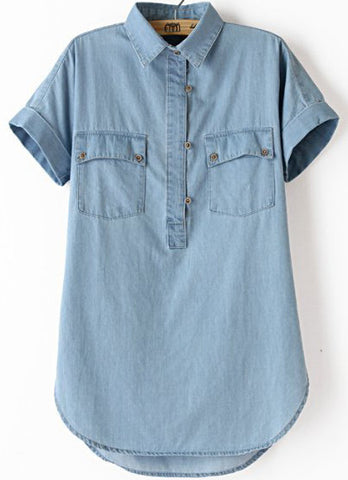 Blue Lapel Short Sleeve Pockets Denim Blouse
