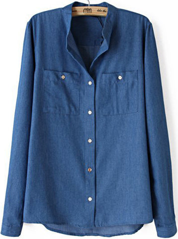 Blue Stand Collar Long Sleeve Pockets Denim Blouse