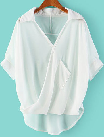 White Lapel Batwing Sleeve Dipped Hem Blouse
