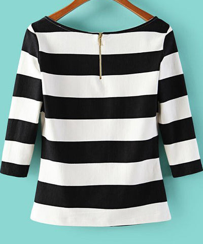 Black White Striped Scoop Neck T-Shirt