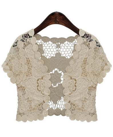 Beige Short Sleeve Hollow Floral Crochet Top