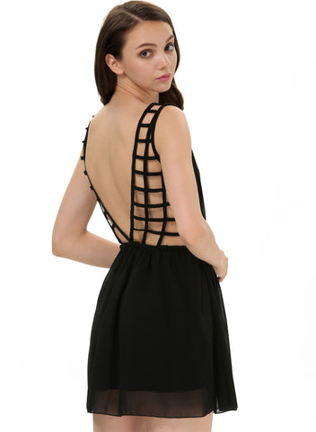 Black Sleeveless Cut Out Backless Short Dress