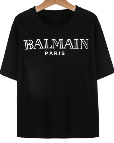Black Short Sleeve BALMAIN Print T-Shirt
