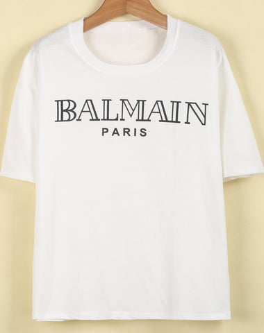 White Short Sleeve BALMAIN Print T-Shirt