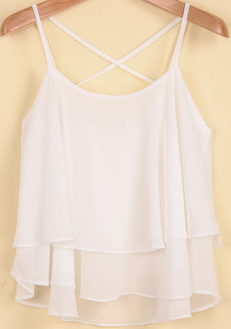White Spaghetti Strap Double Layers Chiffon Vest
