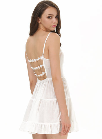 White Spaghetti Strap Backless Pleated Dress