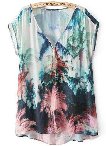 Blue V Neck Short Sleeve Coconut Tree Print Blouse