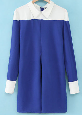 Blue Contrast Lapel Long Sleeve Loose Dress