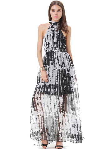 Black and Ivory High Neckline Tie Back Maxi Dress