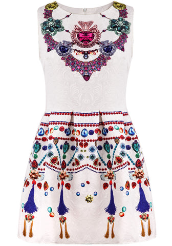 White Sleeveless Vintage Gemstone Print Dress