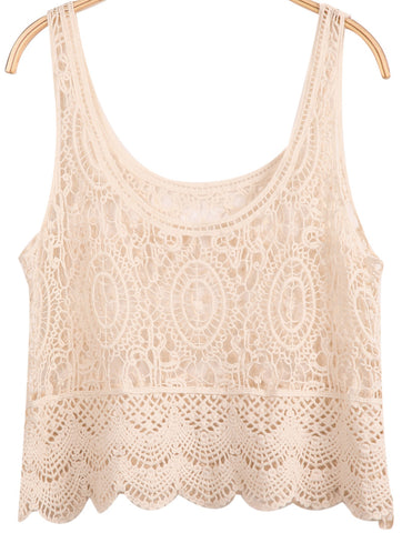 Apricot Sleeveless Hollow Lace Vest