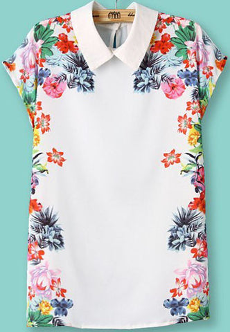 White Lapel Short Sleeve Floral Slim Blouse