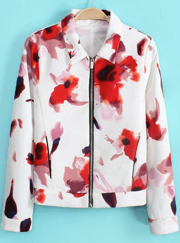 White Lapel Long Sleeve Zipper Floral Jacket