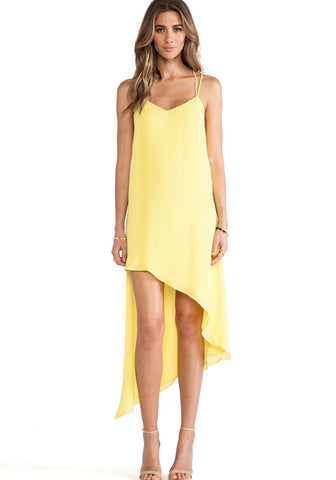 Yellow V-neck Spaghetti Strap Asymmetric Hem Dress