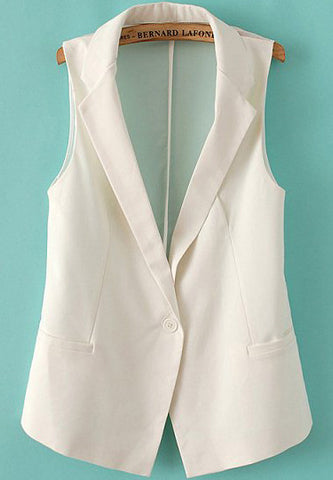White Notch Lapel Contrast Sheer Chiffon Blazer