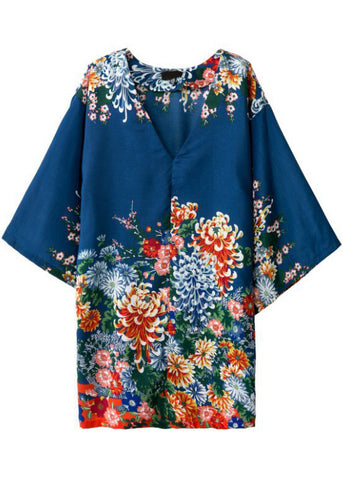 Blue V Neck Floral Casual Loose Dress