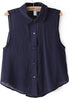 Navy Lapel Sleeveless Buttons Asymmetrical Blouse