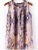 Purple Sleeveless Snakeskin Print Blouse