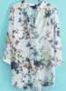 White V Neck Long Sleeve Floral Butterfly Print Blouse