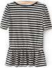 Black White Short Sleeve Striped Ruffle T-Shirt