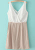 White V Neck Sleeveless Contrast Khaki Chiffon Dress