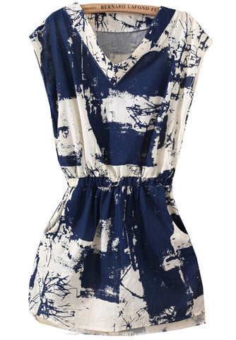 Blue V Neck Sleeveless Floral Slim Dress