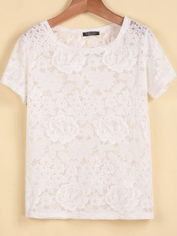 White Short Sleeve Floral Crochet Lace T-Shirt
