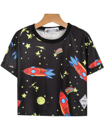 Black Short Sleeve Rocket Stars Print T-Shirt