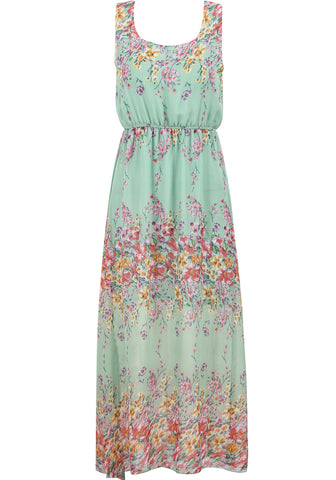 Green Sleeveless Floral Chiffon Maxi Dress