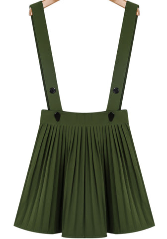 Army Green Strap Buttons Pleated Skirt