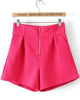 Red High Waist Zipper Shorts