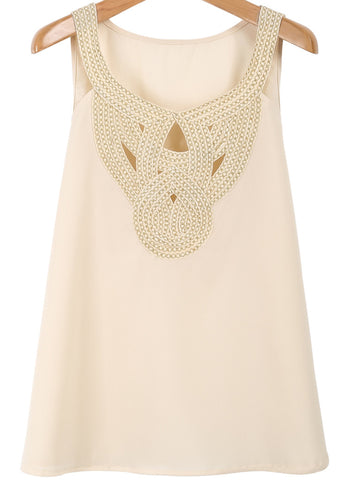 Apricot Sleeveless Hollow Chiffon Vest
