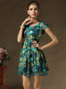 Green Short Sleeve Floral Contrast Gauze Dress